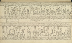 Narrative sculpture on the south side of the Amritesvara Temple at Amritpur, 1805. Fourth panel of the Ramayana frieze